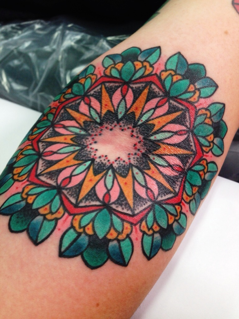 Colourfull small mandala tattoos