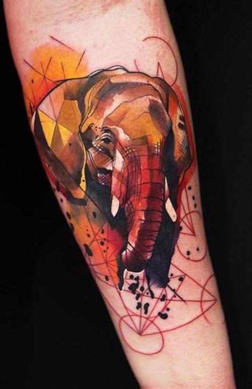 Geometric elephant watercolor tattoo