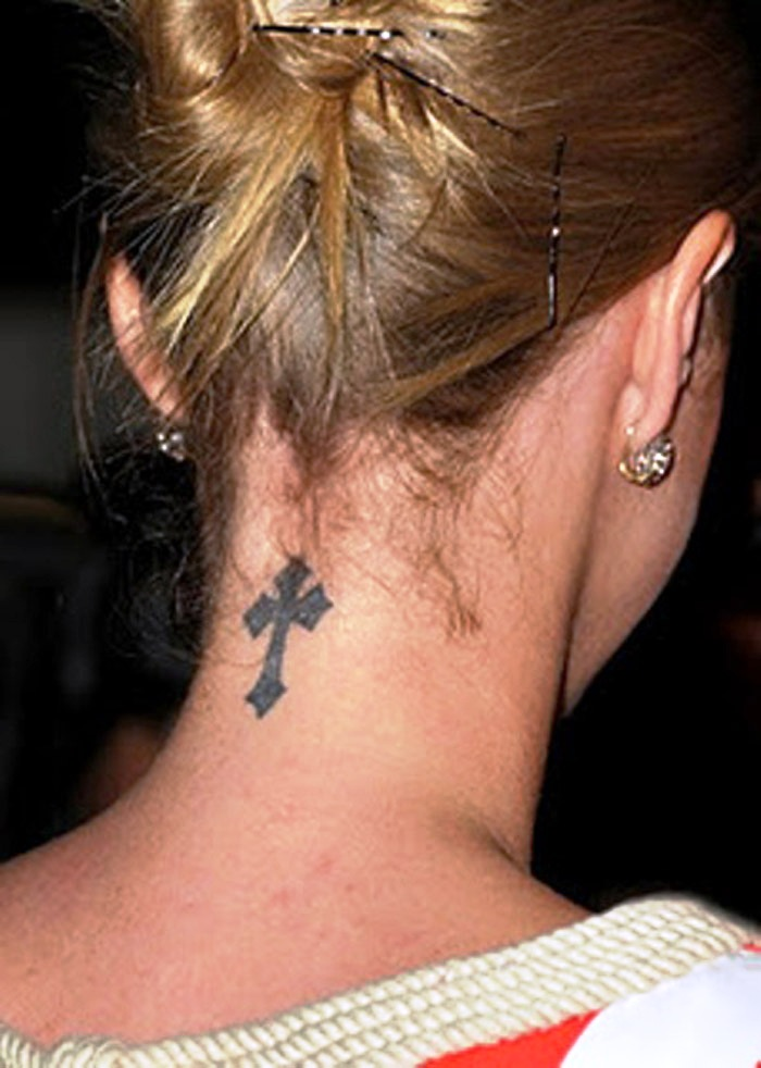 Small-Cross-Tattoos-for-Women-on-Neck