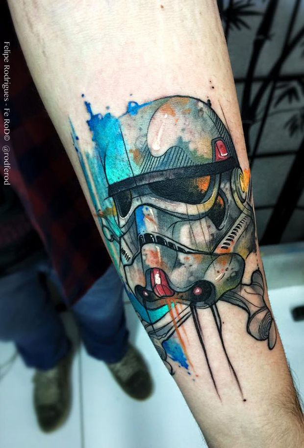Stormtrooper Watercolor Tattoo
