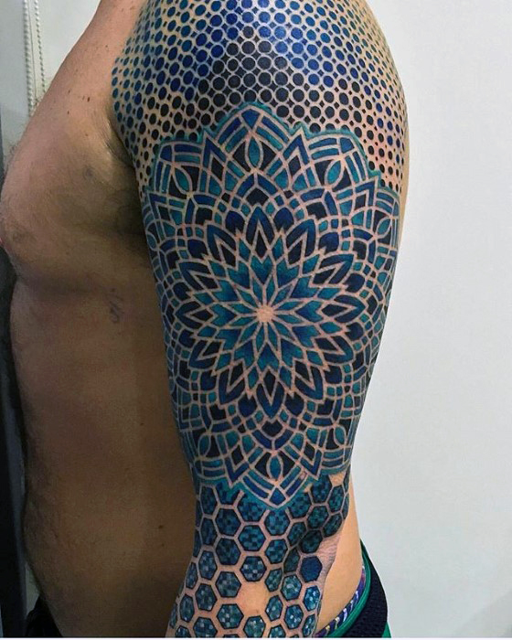 red-and-black-geometric-tattoo-sleeve-ideas