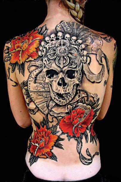 skull-and-flowers-back-tattoo
