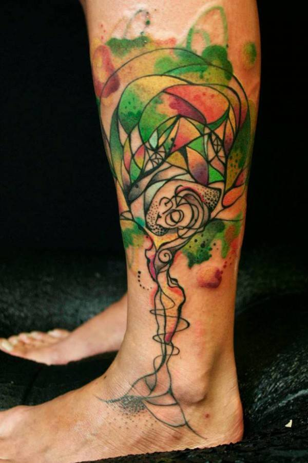 Abstract Watercolor Tattoo Tree of Life