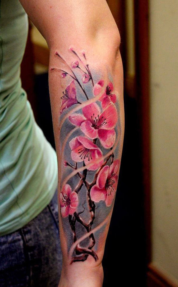 Cherry Blossom Petals Tattoo