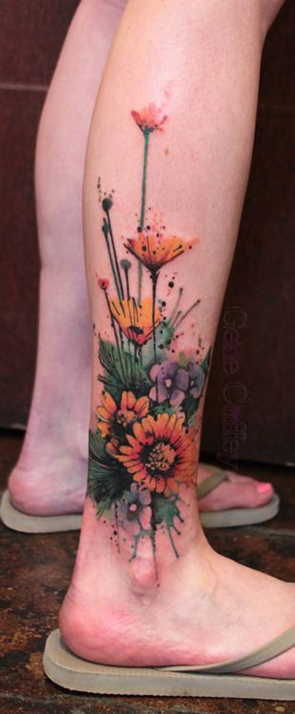 Coffey Watercolor Flower Tattoos