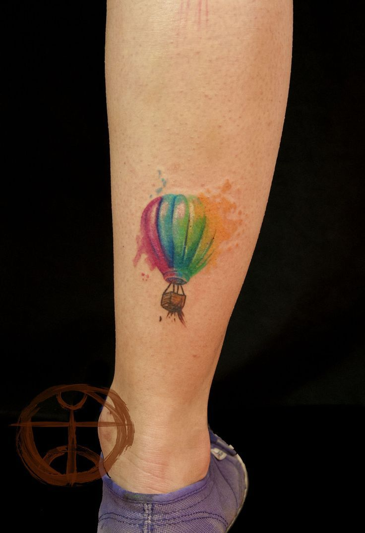 Hot Air Balloon Watercolor Tattoo