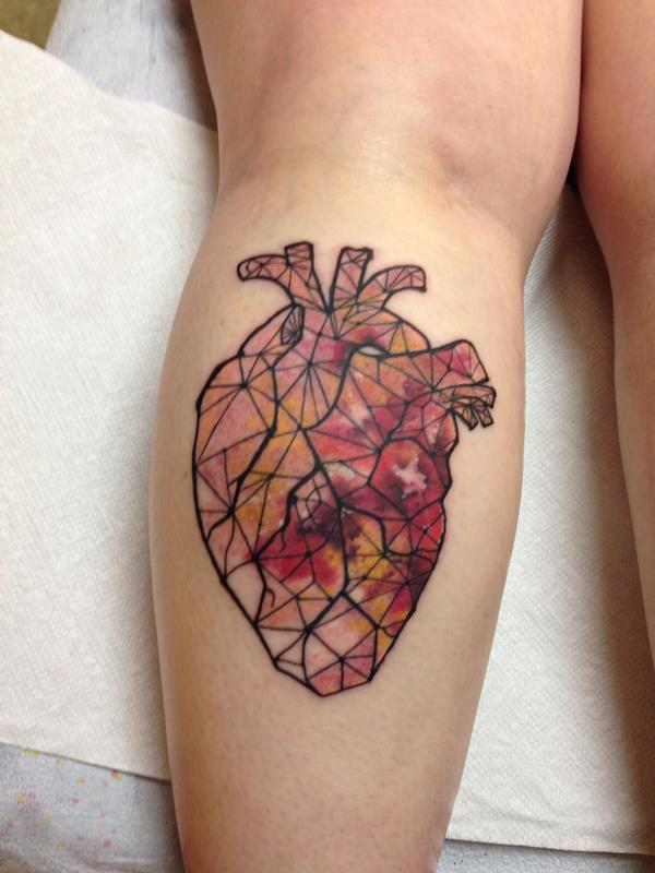 Watercolor Anatomical Heart Tattoo