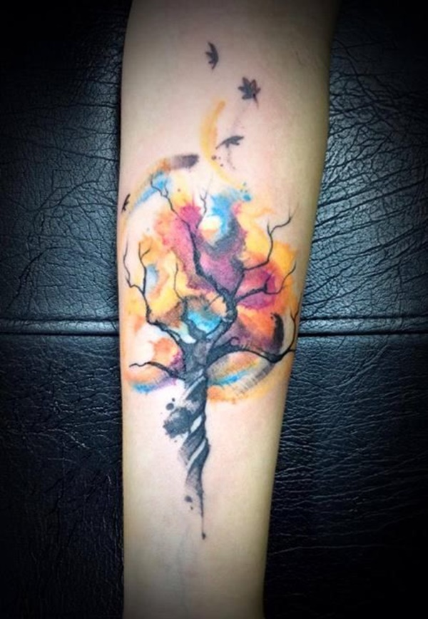 Watercolor Family Tree Tattoo