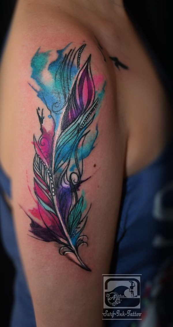 Watercolor Feather Tattoo Design Ideas