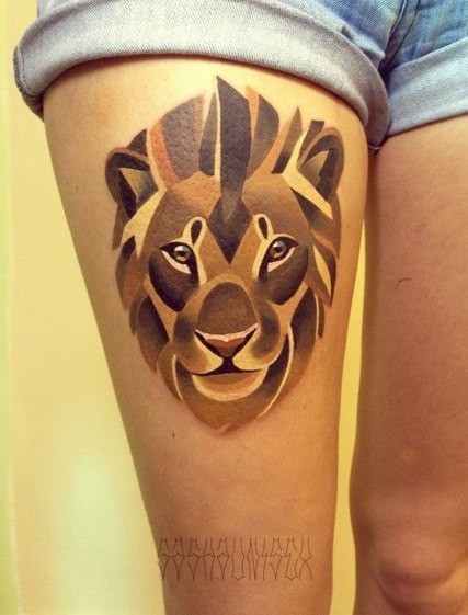 Watercolor Lion Tattoo On Hip