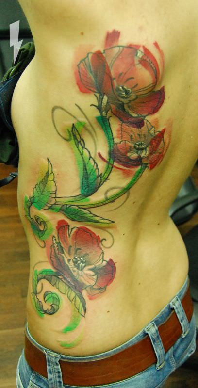 Watercolor Poppy Tattoo 2014