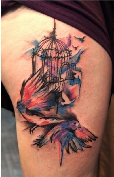 Watercolor Tattoo Bird Cage