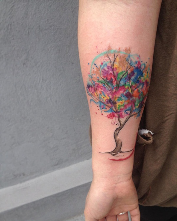 Watercolor Tree Tattoo 2015