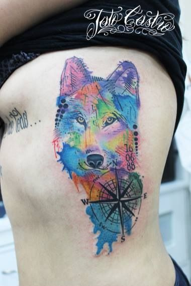 Watercolor Wolf Tattoo Designs